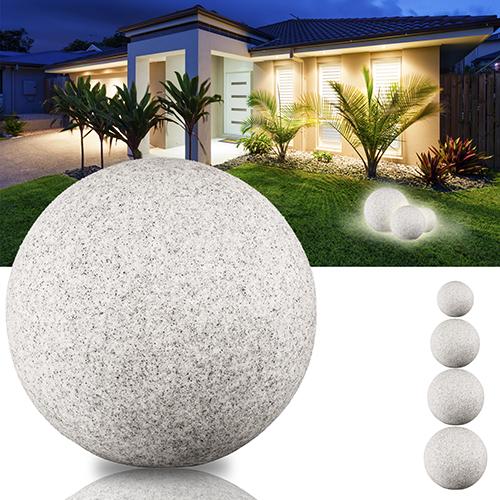 led leuchtkugel gartenleuchte kugelleuchte 230v innen au en ip65 granit optik ebay. Black Bedroom Furniture Sets. Home Design Ideas